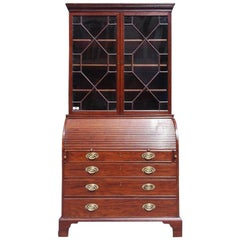 English Mahogany Tambour Graduated Hinged Secretary with Bookcase, Circa 1800