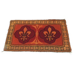 CLOSE OUT SALE: Vintage Fleur-de-Lis Orange and Red Tapestry