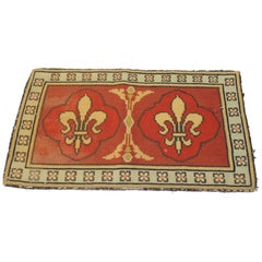 CLOSE OUT SALE: Vintage Fleur De Lis Yellow and Red Tapestry