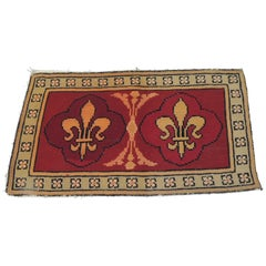 CLOSE OUT SALE: Vintage Fleur-de-Lis Yellow and Red Tapestry