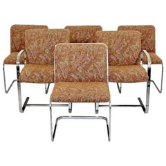 Mid-Century Modern Brueton Set of Six Chrome Cantilever Dining Chairs, 1960s