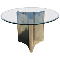 Mastercraft Brass Trefoil Table Base with Glass Top