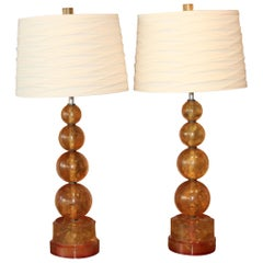 Vintage Pair of Amber Colored Fractured Resin Lamps