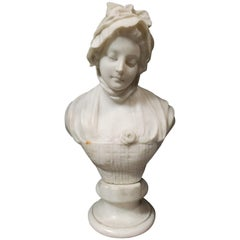 Italian Carved Marble Bust of Girl, 19th Century