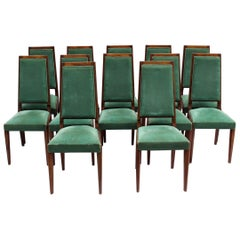 Set of 12 Fine French Art Deco Mahogany Chairs