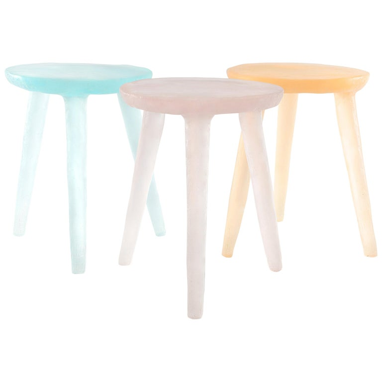 Glow Side Table / Stool 'Aqua' in Recycled Plastic