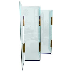 Pace Five-Panel Glass and Brass Hinge Room Divider or Screen