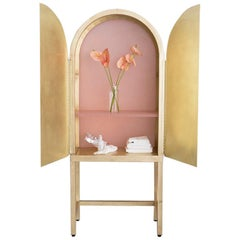 One of a Kind Unique Glow Cabinet for Glossier in Pink Recycled Plastic & Brass