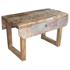 Antique Industrial French Work Bench