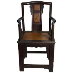 19th Century Chinese Hand-Carved Yumu Wood Armchair with Painted Scenes