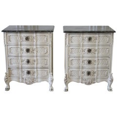 Pair of Painted Provincial Nightstands with Marble Tops