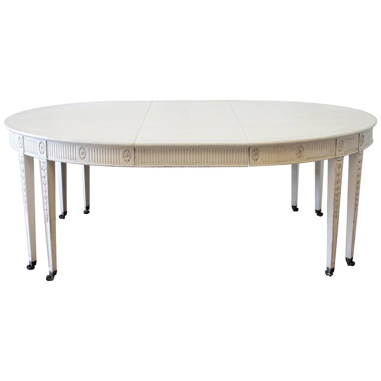 Antique Gustavian Swedish Style Dining Table with Leaf