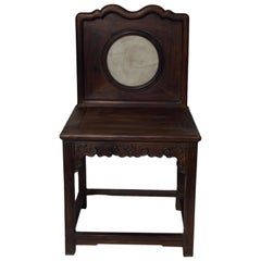 Chinese 19th Century Dark Lacquered Yumu Wood Accent Chair with Marble Medallion