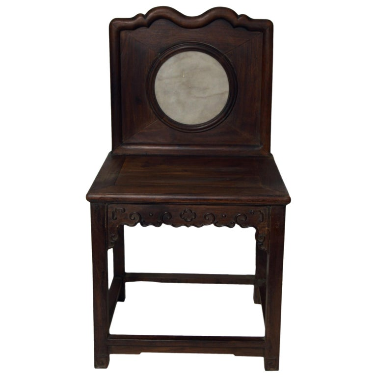 Chinese 19th Century Dark Lacquered Yumu Wood Accent Chair with Marble Medallion For Sale