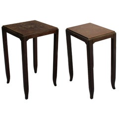 Two Fine French Art Deco Mahogany Side Tables by Jules Leleu