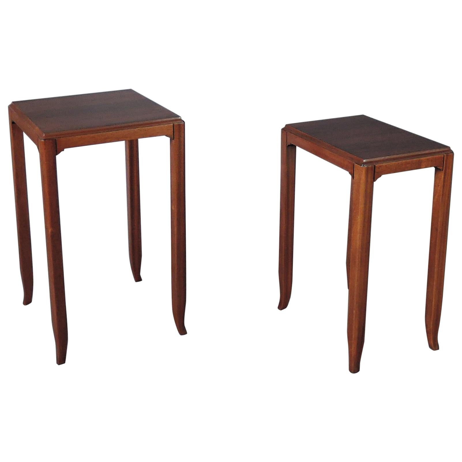 2 Fine French Art Deco Mahogany and Rosewood Side Tables by Jules Leleu