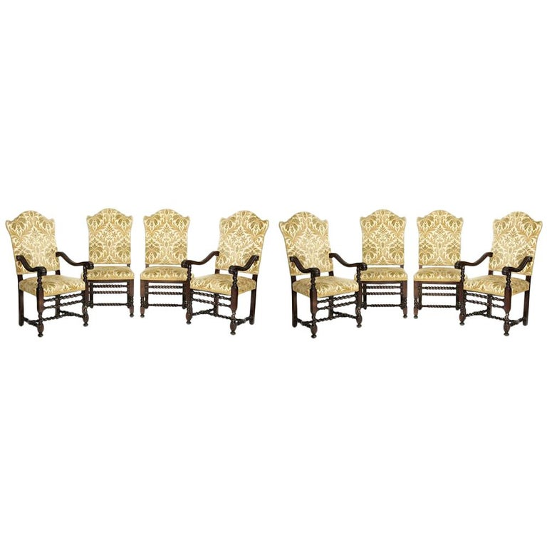 Set of Eight Italian Baroque Style Dining Chairs