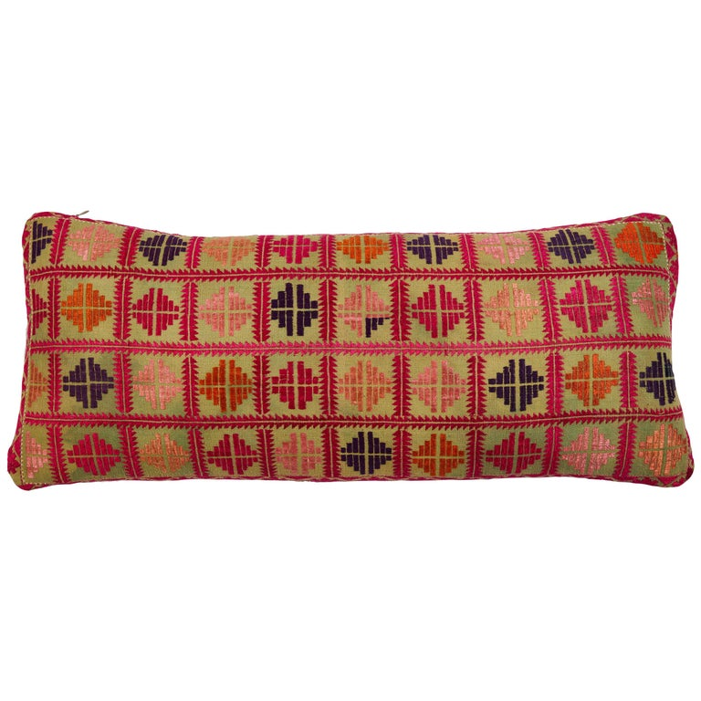 Swat Valley Embroidered Textile Pillow For Sale