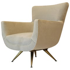 Henry Glass Swivel Lounge Chair in Velvet with Brass Legs