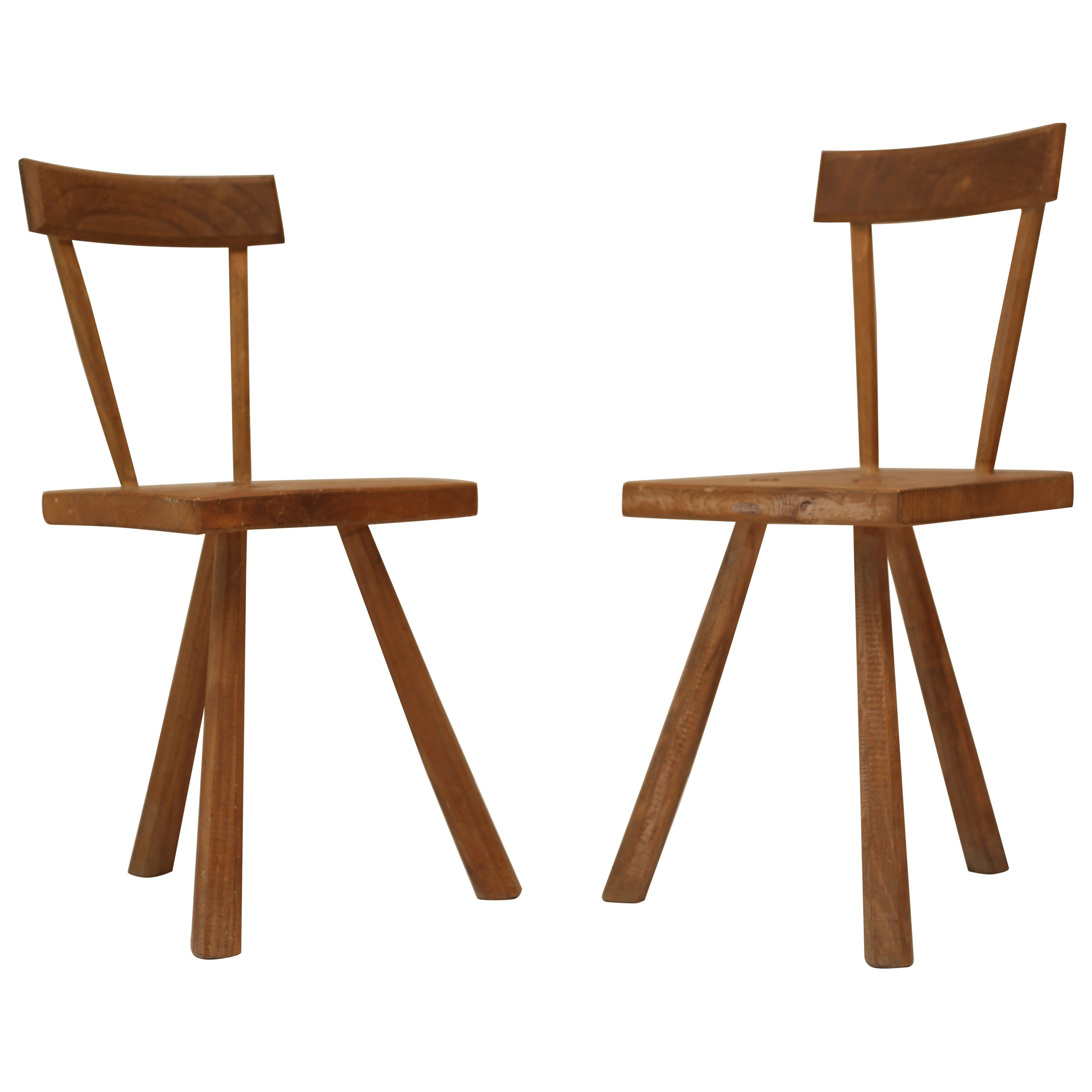 Pair Of Primitive French Oak Milking Chairs Jean Touret For Atelier