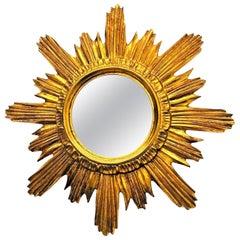 Beautiful French Sunburst Starburst Mirror Wood Stucco, circa 1960s