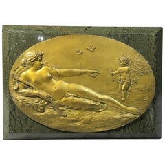 French Bronze Plaque, Venus and Cupid, 19th Century