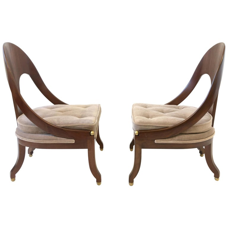 Pair of Mahogany Spoon Back Slipper Lounge Chairs by Michael Taylor for Baker