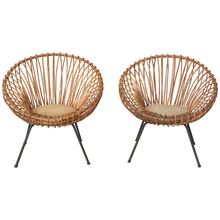 Sculptural Pair of Janine Abraham and Dirk Jan Rol Wicker Lounge Armchairs