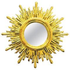Beautiful French Starburst Sunburst Gilded Wood Mirror, circa 1960s