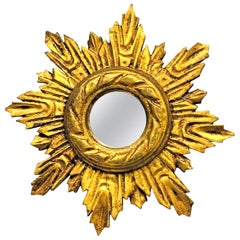 Petite French Starburst Sunburst Gilded Wood Mirror, circa 1930s