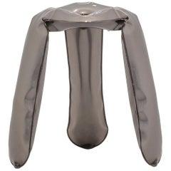 Plopp Standard Stool in Industrial Steel by Zieta