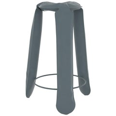 Plopp Bar Stool in Blue Grey Steel by Zieta