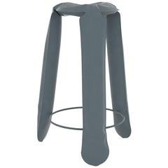 Plopp Bar Stool in Blue Grey Steel by Zieta