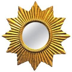 Beautiful French Sunburst Starburst Mirror Wood Stucco, circa 1950s