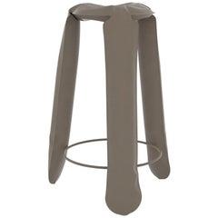 Plopp Bar Stool in Beige Grey Steel by Zieta