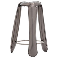 Plopp Bar Stool in Industrial Steel by Zieta