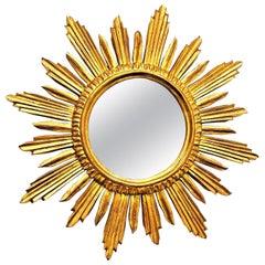 Beautiful Italian Large Sunburst Starburst Mirror Wood, circa 1950s