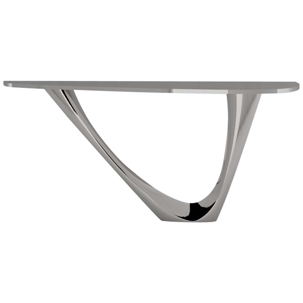 G-Console Mono Table in Brushed Stainless Steel by Zieta