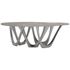 G-Table B and C in Brushed Stainless Steel with Concrete Top by Zieta