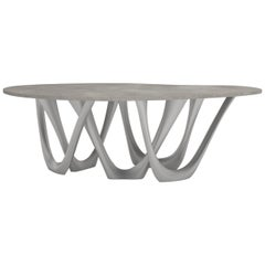 G-Table B+C in Brushed Aluminum with Concrete Top by Zieta