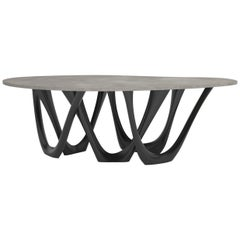 G-Table B+C in Powder-Coated Steel with Concrete Top by Zieta