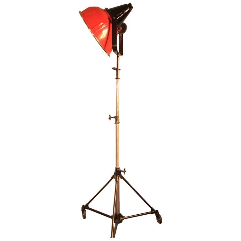 1970s Industrial Vintage Film Floor Lamp with Red Metal Shade