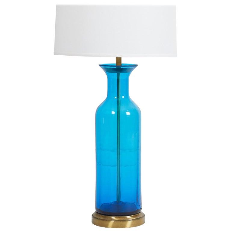 Oversized Blenko Blue Urn Glass Lamp