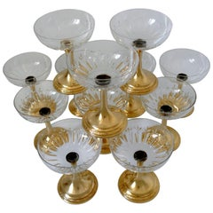 1900s French Sterling Silver 18-Karat Gold Champagne or Dessert Glasses 12 Pc
