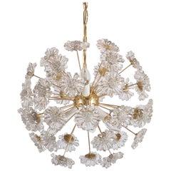 Stunning Sputnik Chandelier with Crystal Flowers