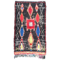 Moroccan Boucherouite Rug, Hand-Knotted Fabrics, 1980s