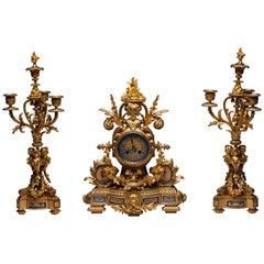 French Sèvres Porcelain Clock Set