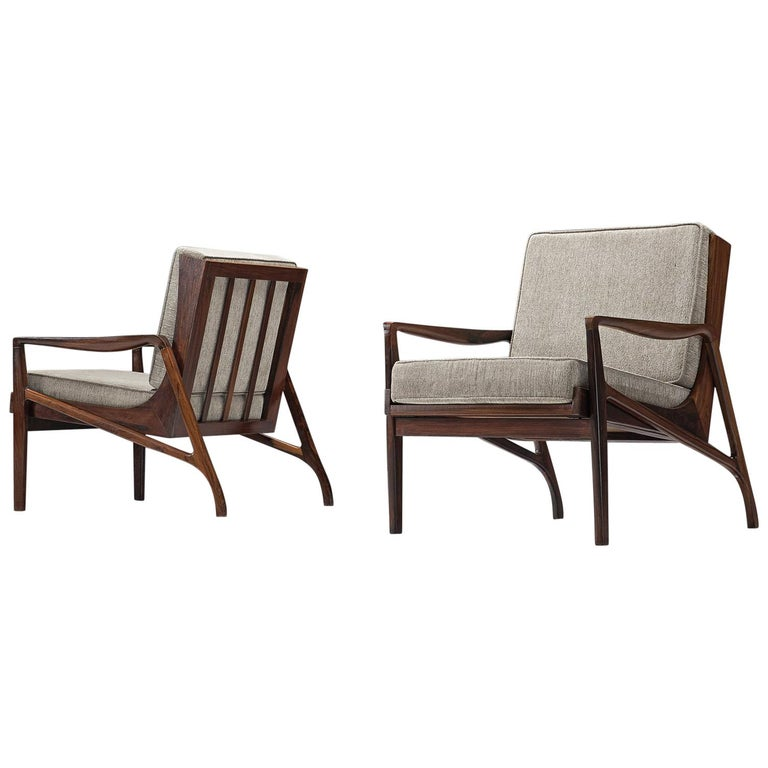 Brazilian Rosewood Easy Chairs by Liceu de Artes e Officios
