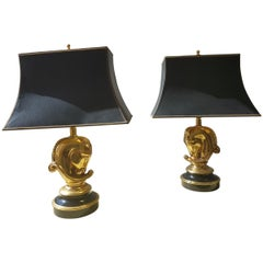 Pair of Brass Horsehead Table Lamps 1970 by Deknudt Hollywood Regency