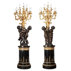 Elegant Pair of Two Patina Bronze Putti Torcheres Attributed to V. Paillard